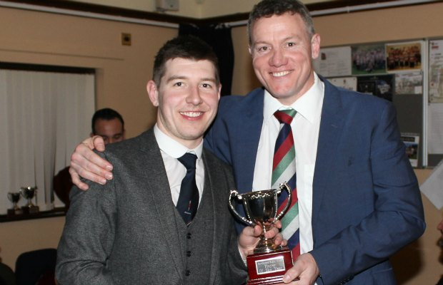Ben Holt receives his award at Burntwood RUFC's annual presentation evening. Pic: Joanne Gough