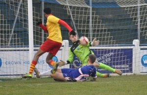 Curtis Pond pulls off a save to deny Carlton. Pic: Pamela Mullins