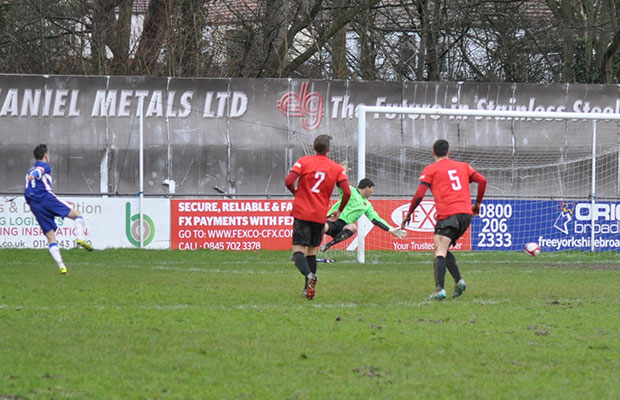 George Washbourne beats the keeper to double Chasetown's advantage. Pic: Pamela Mullins