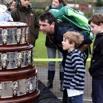 Visitors looking at the Davis Cup in Lichfield