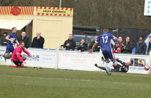 Paul Sullivan scores for Chasetown. Pic: Dave Birt