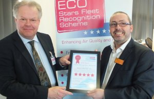 Cllr Colin Greatorex presenting an ECO Stars certificate to a representative from Sainsbury's