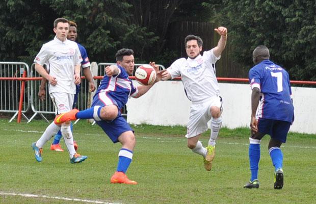 Marco Adaggio tries to get his shot off. Pic: Pamela Mullins