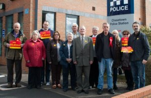 Labour campaigners outside Chasetown Police Station