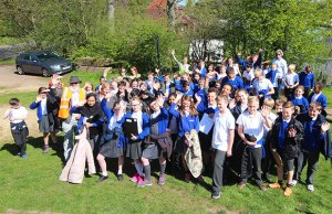 Children from St Michael's Primary School at the site of the Lichfield Canal restoration