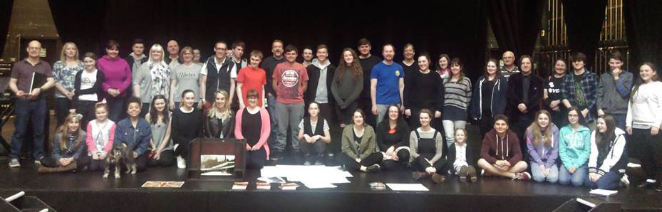 Cast members at the first rehearsal for The Hired Man at the Lichfield Garrick