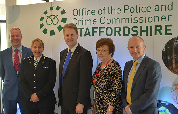 John Tradewell (Staffordshire County Council), Chief Constable for Staffordshire Police Jane Sawyers, Police and Crime Commissioner Matthew Ellis, Chair of the Central and South-West Staffordshire Magistrates' Bench Marlene Longman JP, and David Sidaway (Stoke-on-Trent City Council)