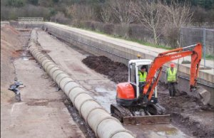 The so-called 'big pipe' which has been hampering restoration efforts on the Lichfield Canal
