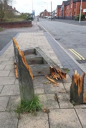 The damaged road sign at Sankey's Corner. Pic: Steve Norman