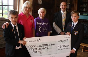 Pupils Daniel Streeter and Jake Flood hand over the cheque to Lorraine Moore and Pauline Colingswood with headteacher Dr Daryl Brown
