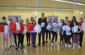 Matthew Ellis with street dancers in Burntwood