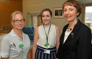 Specialist nurses Katherine Hill and Charlotte Keast with Pam Moore