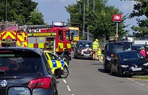 Emergency services at the scene on the Burton Road into Streethay