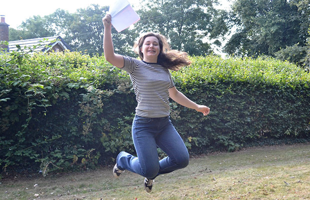 Sophie Capewell celebrating her AS results