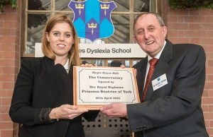 Dr Neville Brown with Princess Beatrice during her visit to Maple Hayes