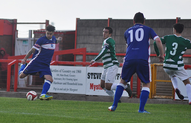 James Dance fires home his second goal. Pic: Pamela Mullins