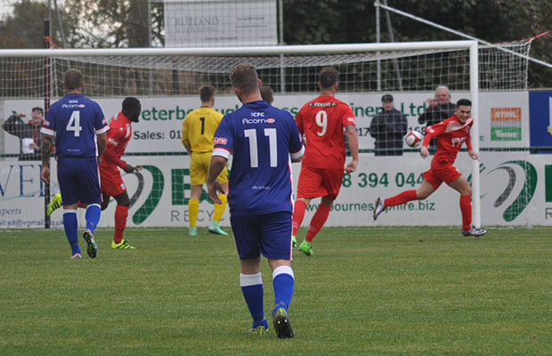 Stamford take the lead against Chasetown. Pic: Pamela Mullins