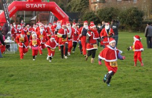 The Santa Run in Lichfield