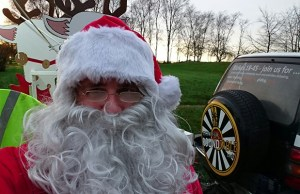 Santa getting ready to head out on the Lichfield Round Table sleigh