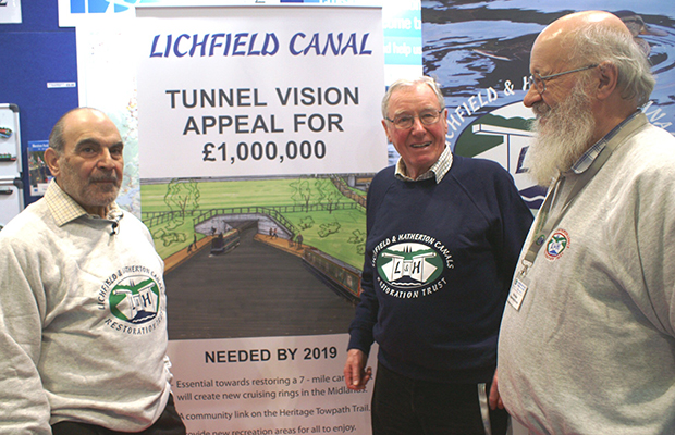 David Suchet CBE with Lichfield and Hatherton Canals Restoration Trust chairman David Dixon and engineering director Peter Buck launching the Tunnel Vision appeal at the London Boat Show