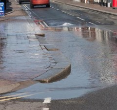 The flooded section of Chasetown High Street