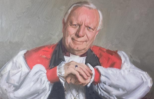 A portrait of former Bishop of Lichfield Keith Sutton painted by Andrew Festing