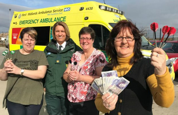 lichfield-darts-league-donate-money-to-ambulance-hub-in-memory-of-player