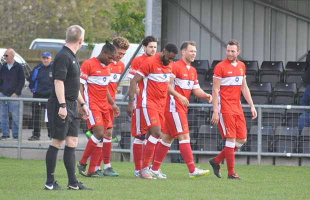 Team mates celebrate Matts goal