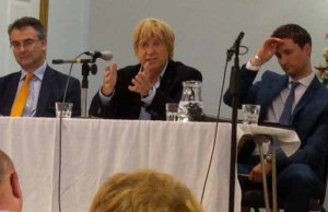Michael Fabricant (centre) speaking at the hustings event in Lichfield alongside Paul Ray (left) and Robert Pass