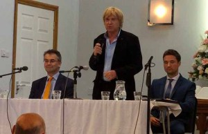 Michael Fabricant speaking at the hustings event alongside Paul Ray (left) and Robert Pass
