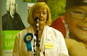 Conservative Councillor Janet Eagland delivering her victory speech