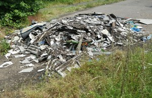 The pile of asbestos dumped in Mile Oak