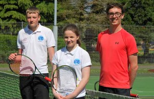 Sam Brown and Charlotte Ward with lead coach James Graney