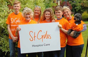 St Giles Hospice volunteer Joan Fairley with members of her family
