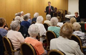 Matthew Ellis talking to members of the Lichfield Afternoon WI