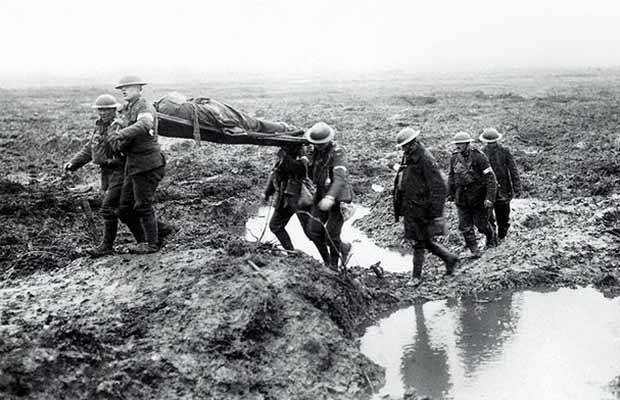 Soldiers at the Battle of Passchendaele transporting the wounded
