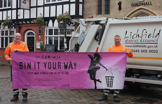 Matt Wesley and Andy Carter from Lichfield District Council's street cleansing team with one of the new campaign banners