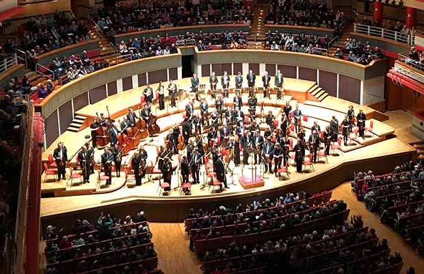 The City of Birmingham Symphony Orchestra on stage. Pic: JimmyGuano