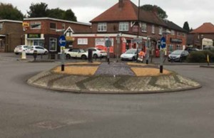 The start of the redesign of Swan Island's roundabout