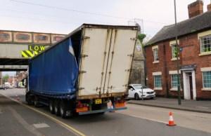 A bridge strike on St John Street in Lichfield