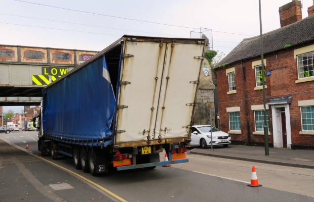 A bridge strike on St John Street in Lichfield