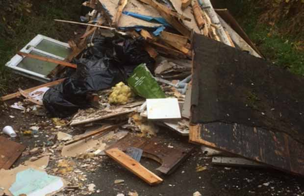 Some of the waste dumped on Gravelly Lane in Stonnall