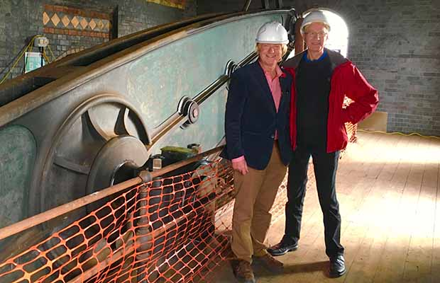 Michael Fabricant MP with Cllr David Dundas inside the Sandfields Pumping Station