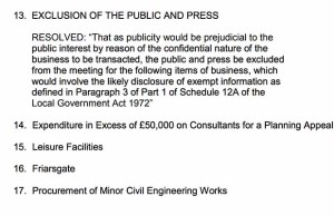 The private section of the agenda for Lichfield District Council's Cabinet meeting