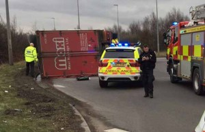 The overturned lorry at Wall Island. Pic: Staffordshire Fire and Rescue Service