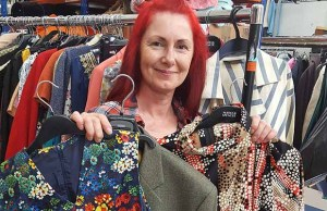 St Giles Hospice warehouse manager Tracey Kelly preparing for the vintage sale