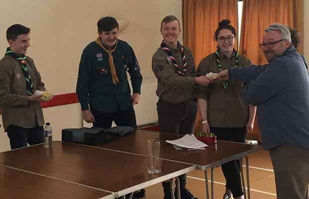 Steve Lightfoot awards Lichfield Explorer Scouts with the £65 grant from Lichfield Soup