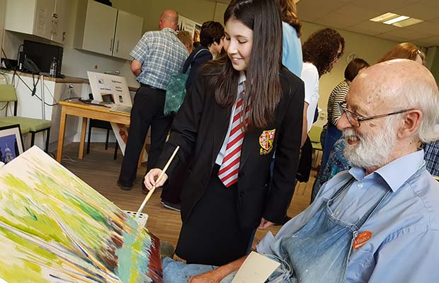 Artist Keith Wilkins with Eleanor Young