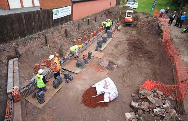 Lichfield and Hatherton Canals Restoration Trust volunteers preparing the Garden of Reflection
