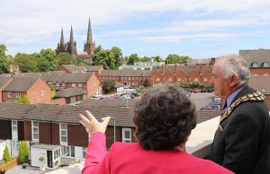 Cllr Awty checking out the views from Lichfield One